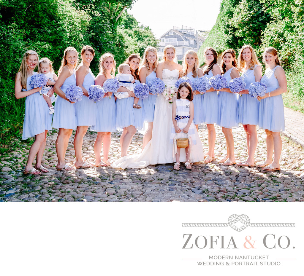 Cobblestone Hill Bridesmaids in periwinkle dresses