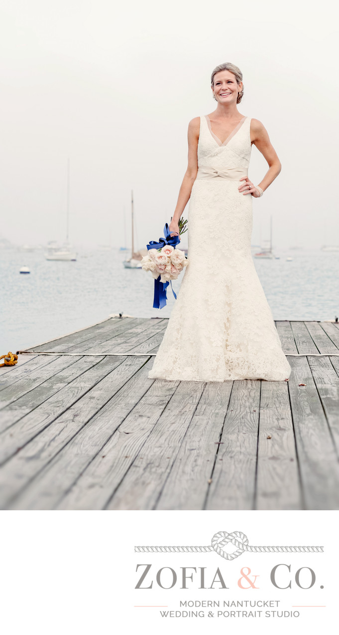 Nantucket Yacht Club Bridal with blue ribbon on dock