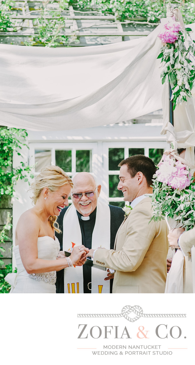 Chanticleer Ceremony vows bride and groom laugh
