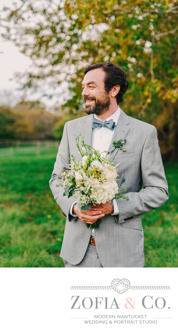 Handsome Groom with Betsey Brooks Bouquet