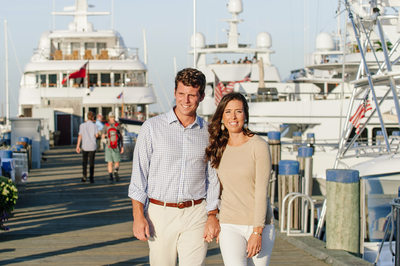 engagement session on the nantucket harbor yachts