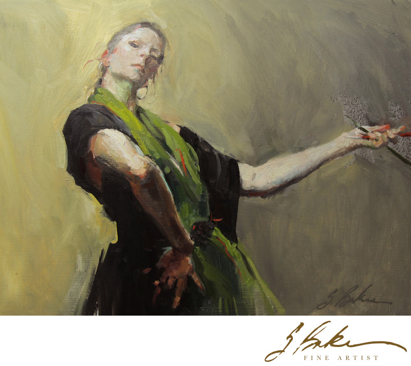 Self Portrait After Sargent's Spanish Dancer, 9x12