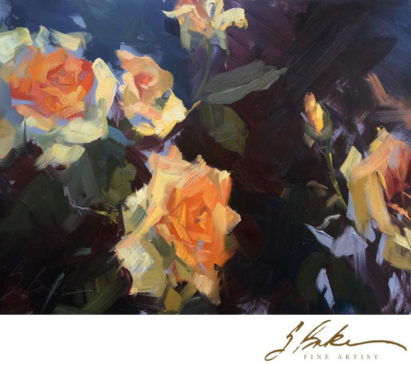 Washington Oak Roses, 9x12