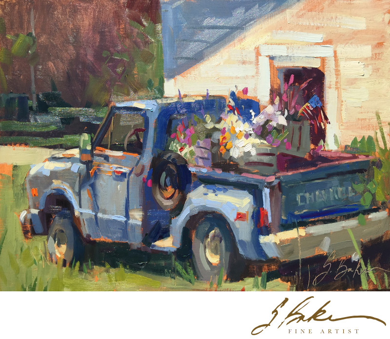 Klenke's Truck, oil on linen panel, 12x16
