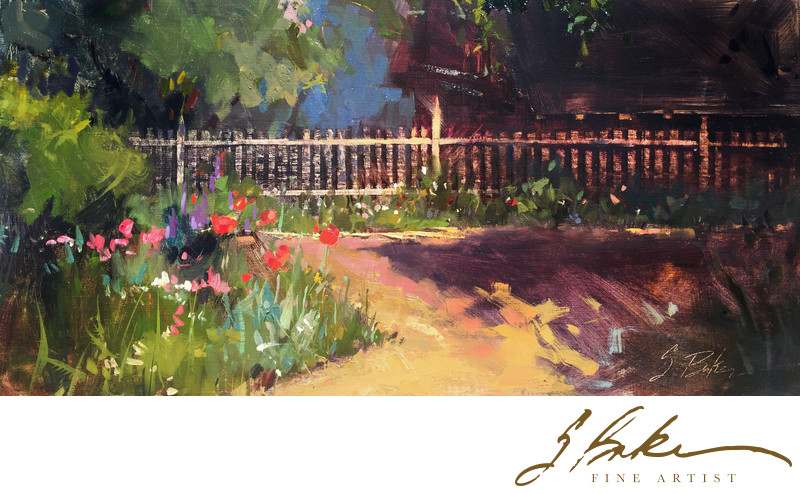 Garden Shadows, oil on linen panel, 12x24
