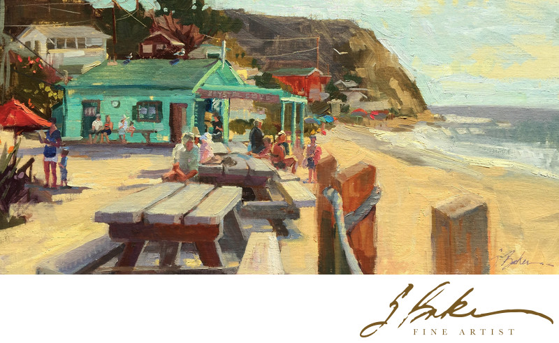 Aimee Painting Crystal Cove, oil on linen panel, 12x24