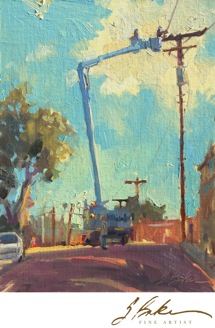 The Powers Out on Thalia Street, oil on linen panel, 12x9