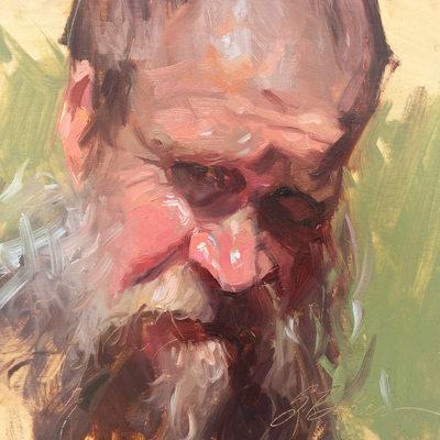Mud Man, oil on wood panel, 6x6