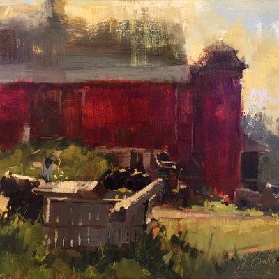 Sunrise on the Farm, oil on linen panel, 16x20