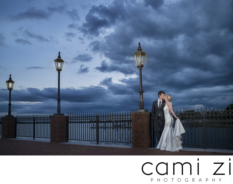 Stormy Wedding Portrait at Tavares Pavillion on the Lake