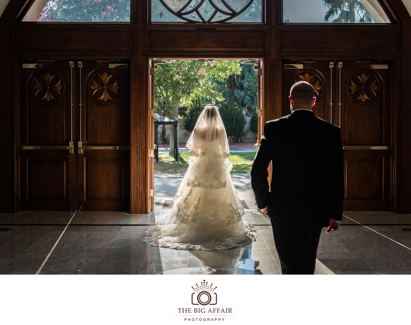Groom and bride portrait at the church