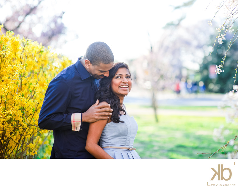Stylish Cherry Blossom Engagement Photos at Tidal Basin in DC