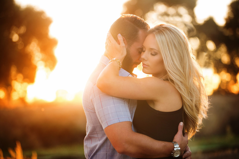 Warm light at sunset country engagement session