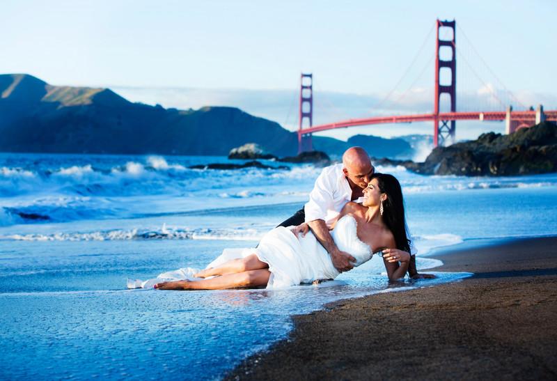 Gus and Martha spanos baker beach wedding.