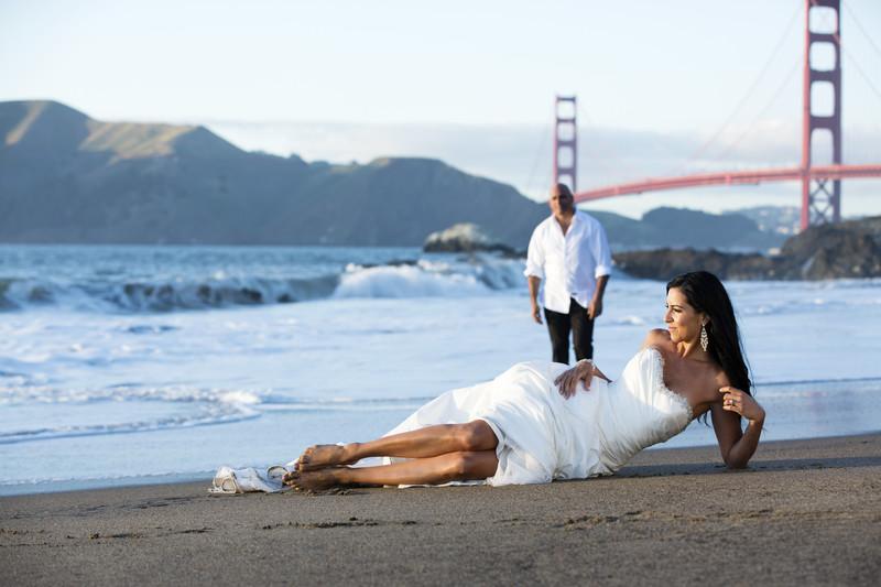 Baker Beach Wedding portraits San Francisco ca
