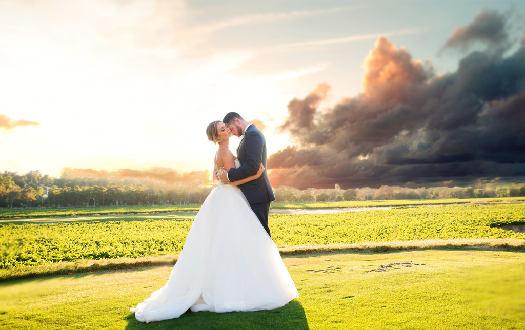 Hole number 7 Wente Golf Course wedding sunset