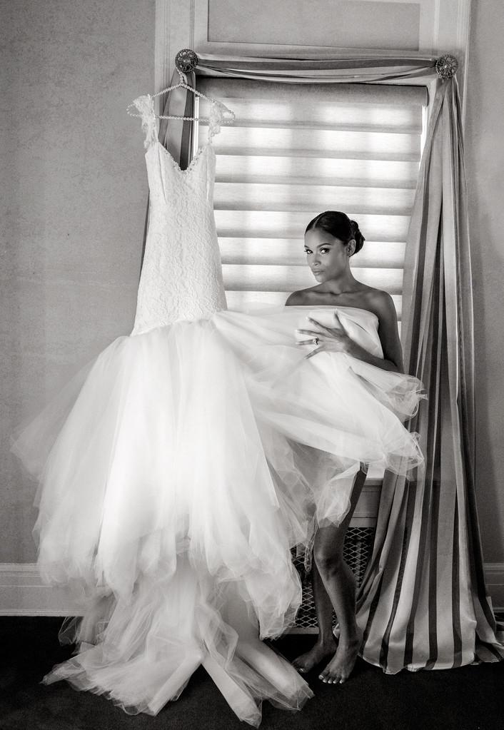 Bride on wedding day at Grand Island Mansion