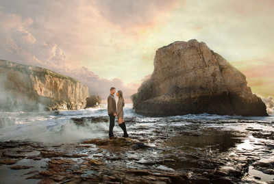 Dramatic Shark Fin Cove engagement session
