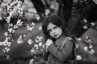 Beautiful almond blossom family portrait Tracy california