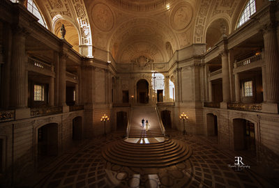 San Francisco City hall wedding Staircase photo Rossetti Photography