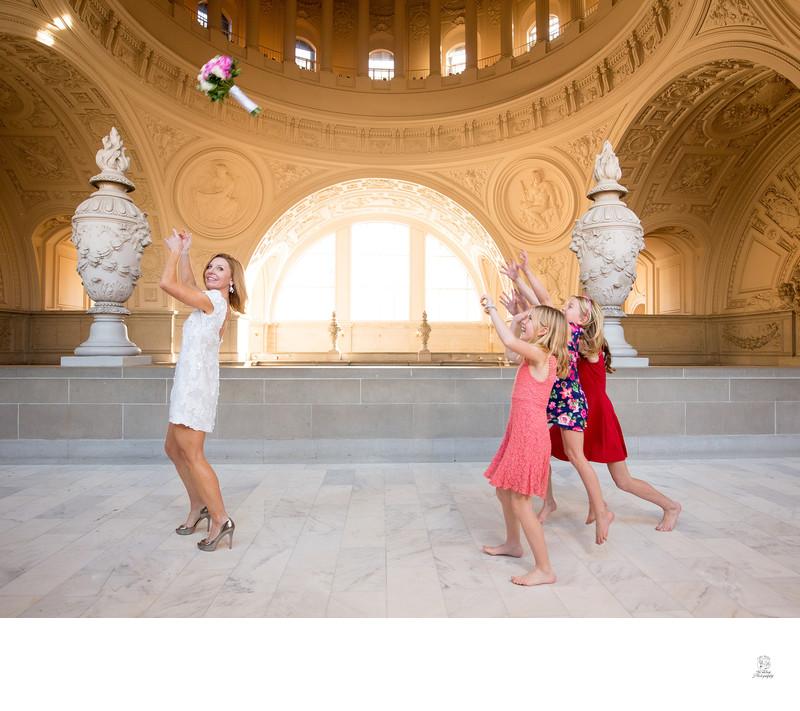bouquet toss to children