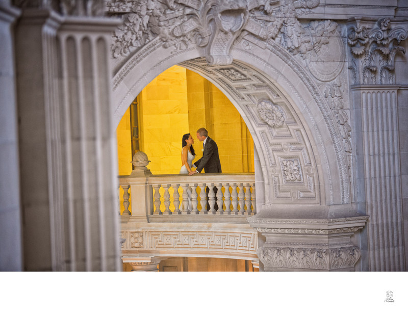City Hall architecture highlighted in a wedding photo