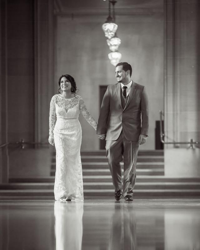 groom walking with bride 2nd floor