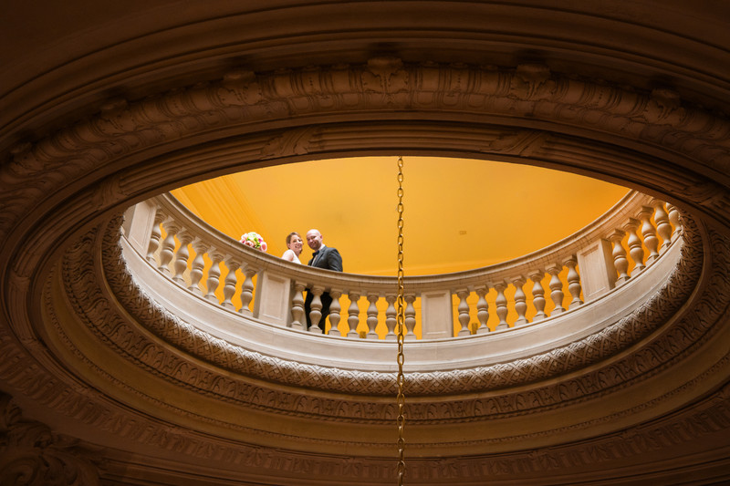 Couple Above the Rotunda at City Hall