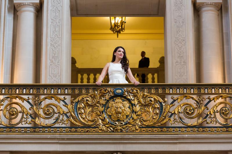 Bride Mayors Balcony San Francisco City Hall Weddings