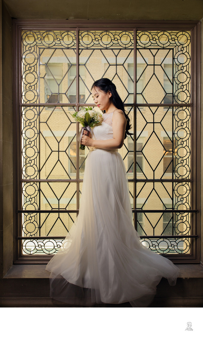 chinese bride in window