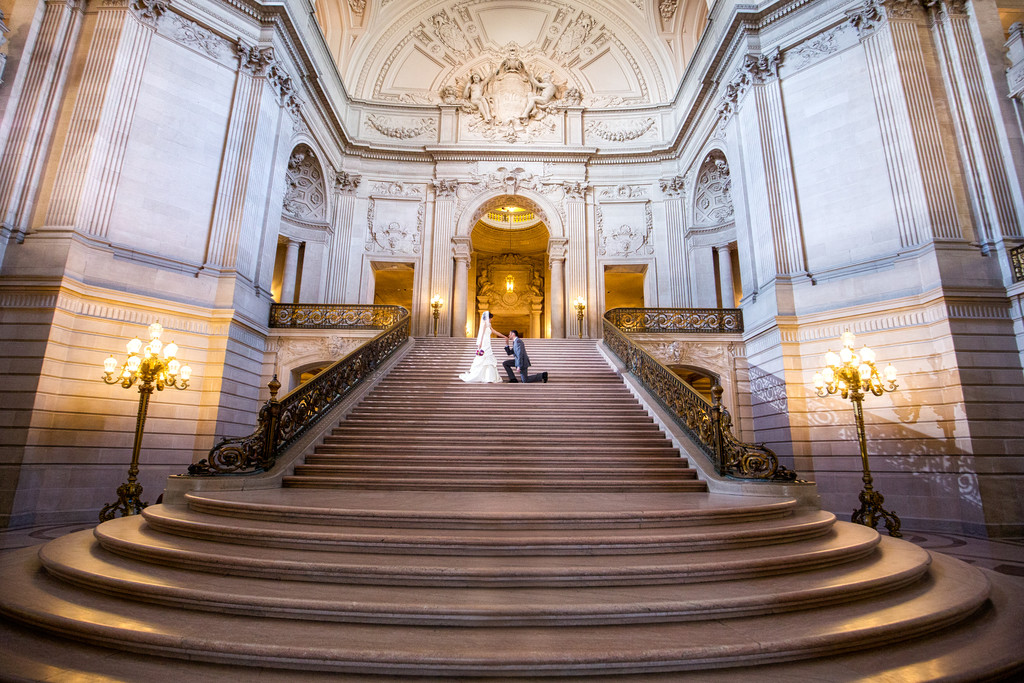 A Dramatic Moment Grand Staircase A Groom On One Knee