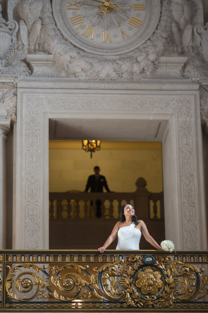 a bride and her man at San francisco city hall