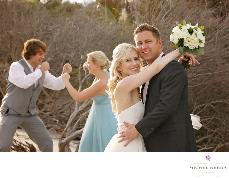 Bride and groom with bridal party wedding ceremony at Sea Side Point Wild Dunes Resort