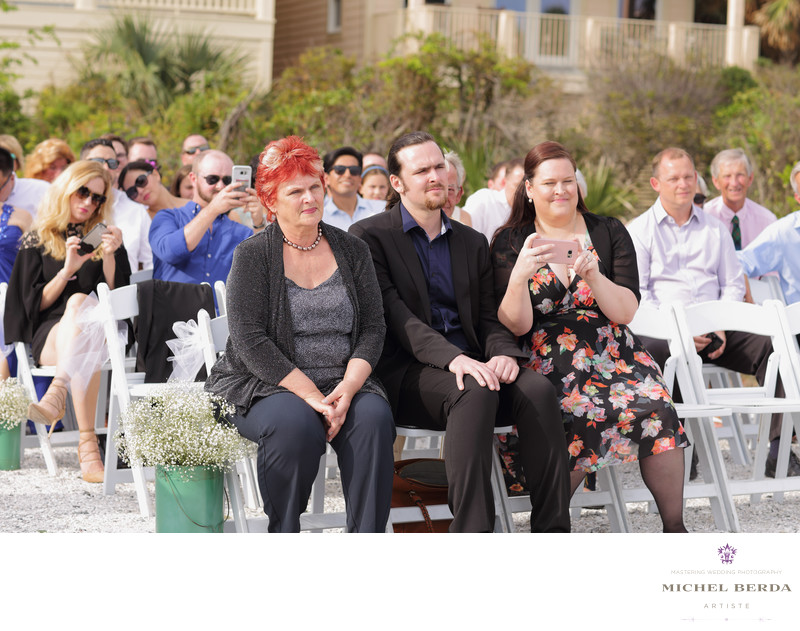 Bride family at wedding ceremony at Sea Side Point Wild Dunes Resort
