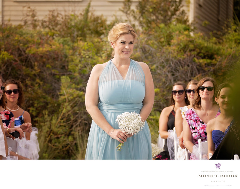 Bridesmaid procesion at wedding ceremony at Sea Side Point Wild Dunes Resort
