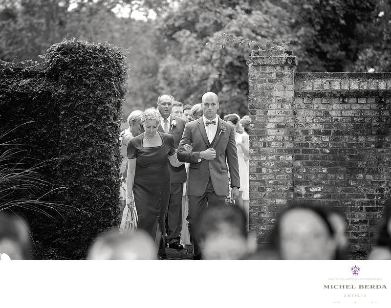 Ceremony groom & mother Dunes West Golf & River Club
