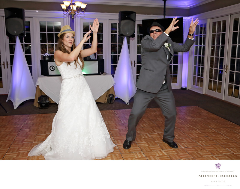 Father & daughter dancing moon walk at Dunes West Golf & River Club