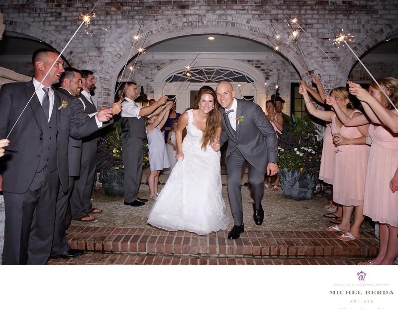 Sparkler exit bride and groom Dunes West Golf & River Club