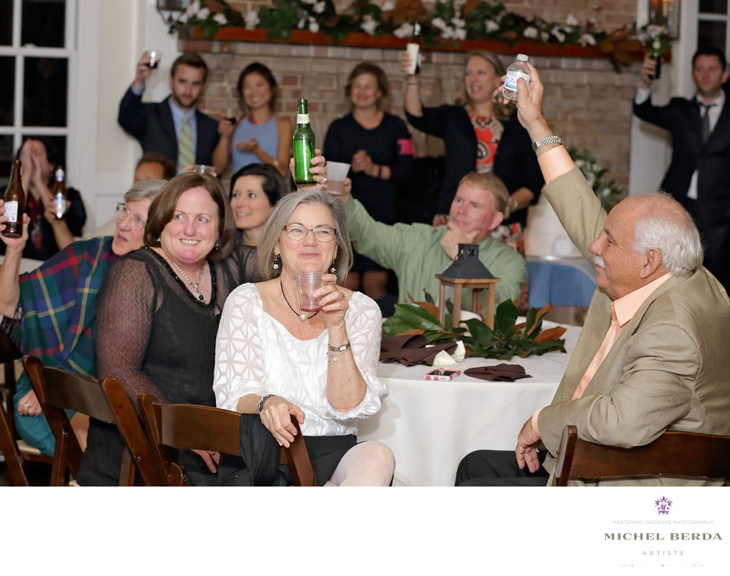 Family & friends toast Alhambra Hall