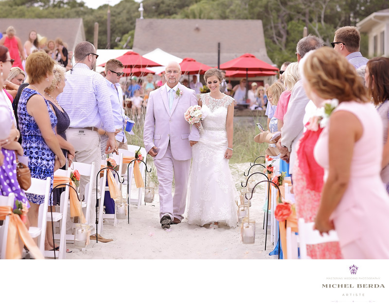 Bride and father procesional Weddings Palmetto Dunes Oceanfront Resort