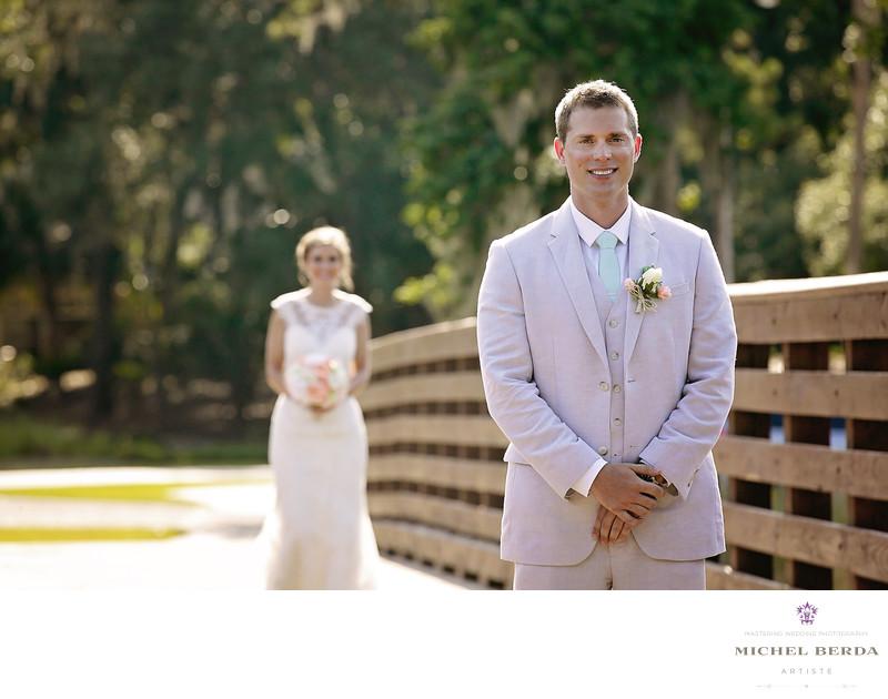 First look walking Weddings Palmetto Dunes Oceanfront Resort