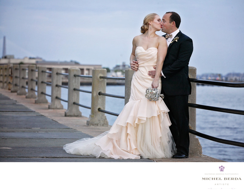 Bride & Groom Kiss At The Battery Charleston SC
