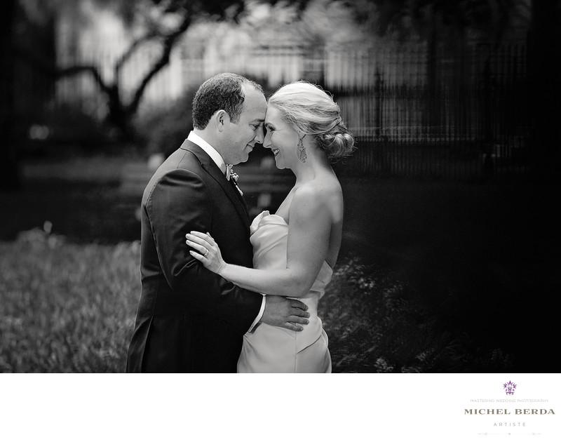 Bride & Groom nose to nose B&W Washington Square Park Charleston SC