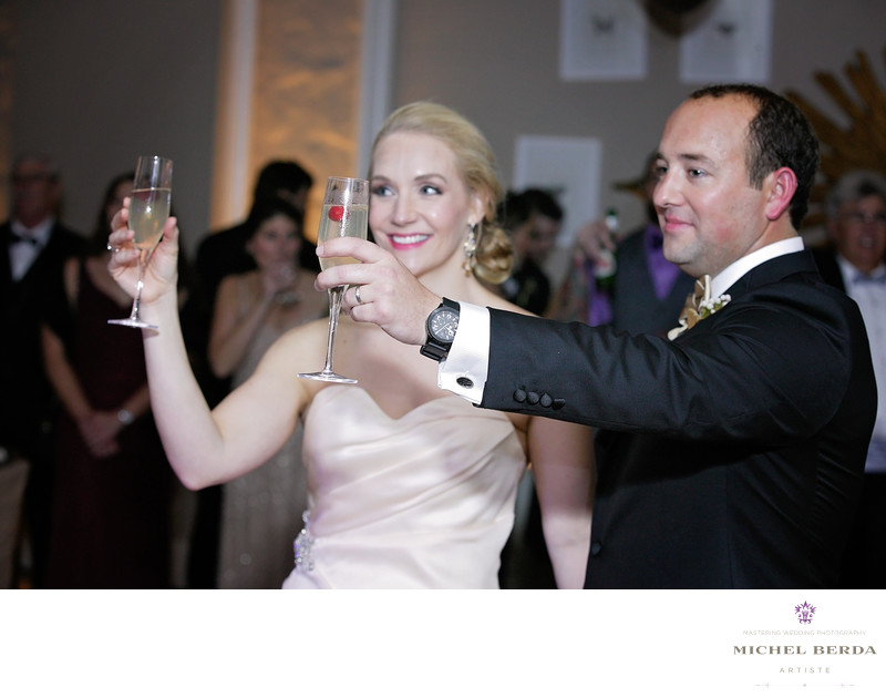 Bride And Groom Toast The Mills House Wyndham Grand Hotel Charleston SC