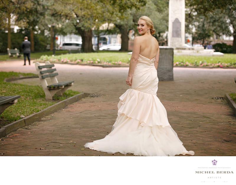 Bride First Look Washington Square Park Charleston SC