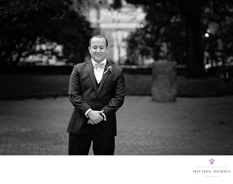 First Look Groom Washington Square Park Charleston SC