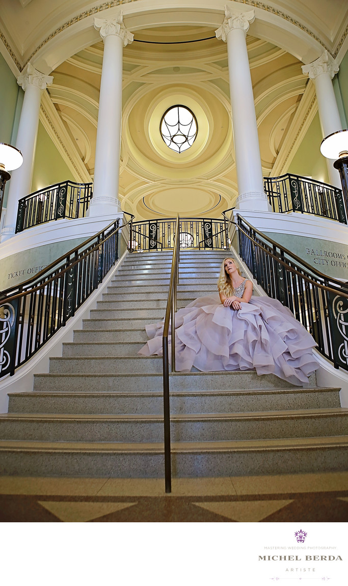 Gaillard Center Staircase Bridal Portrait Photographer