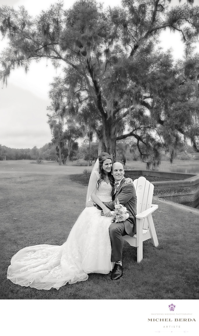 Bride and groom portrait Dunes West Golf & River Club