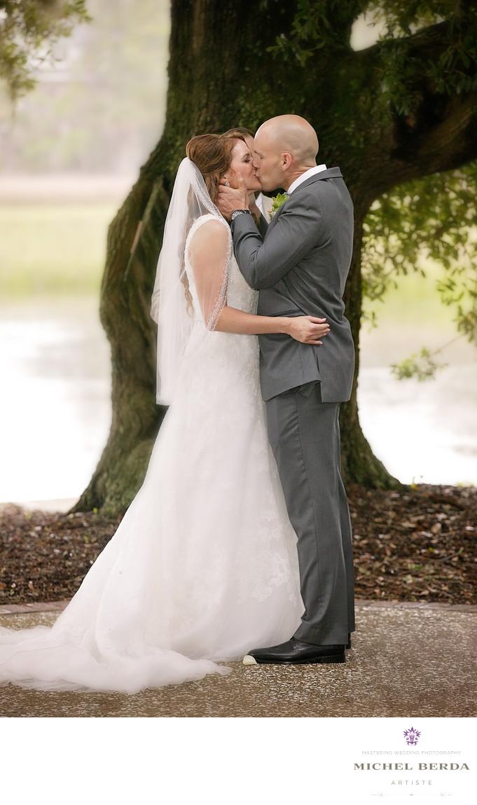 Ceremony kiss Dunes West Golf & River Club