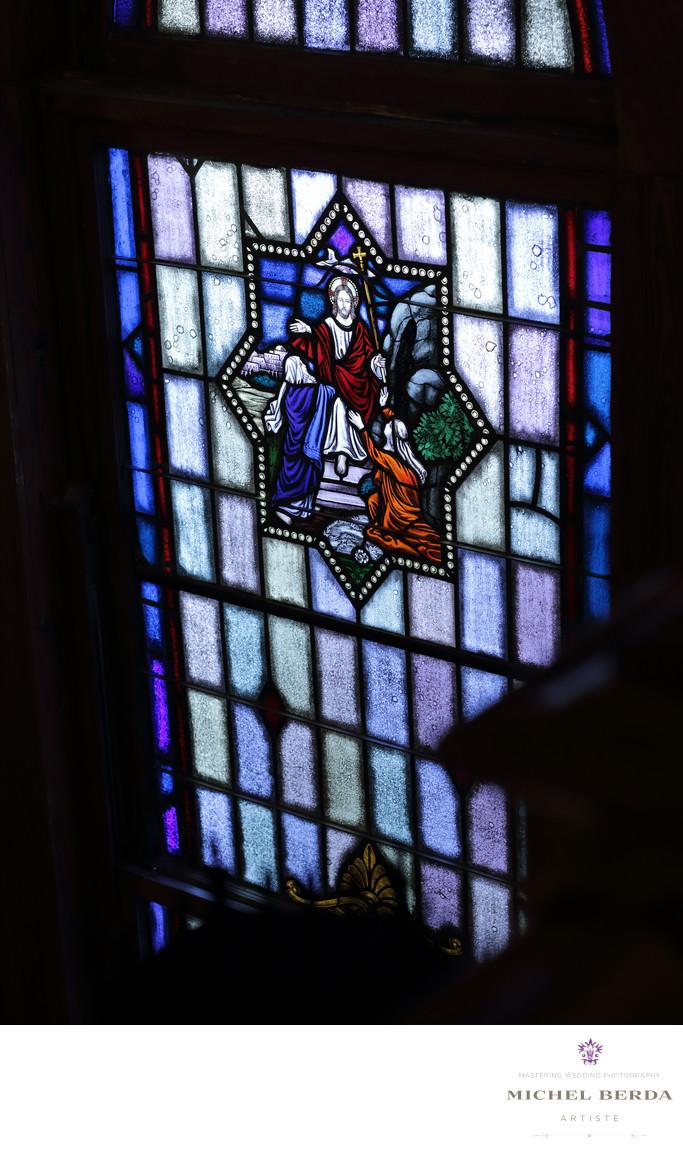Detail glass window Stella Maris